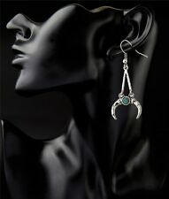 Women Fashion Gold/Silver Plated Turquoise Crescent Drop Dangles Hook Earrings