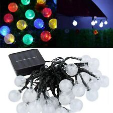 Solar Powered 20LED 21ft String Lights Crystal Ball Garden Xmas Party Fairy Lamp