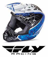 FLY RACING KINETIC CRUX MOTOCROSS ATV MX HELMET WHITE/BLACK/BLUE KIDS YOUTH SIZE