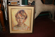 Vintage Pastel Drawing Painting-Young Boy Stern Angry Look-Signed Alice-1967
