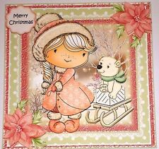 Handmade Greeting Card 3D Christmas With A Girl And A Sled