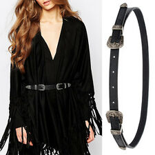 Women Black Narrow Skinny Leather Belt Desinger Waist Belt Floral Pin Buckle