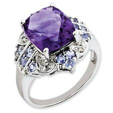 925 Silver Amethyst, Diamond and Tanzanite Cushion Cut Ring - 0.06cttw