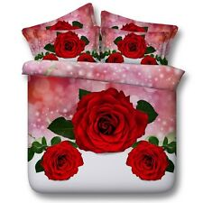3 Red Roses King Queen & Twin Size Duvet Cover Bedding Set