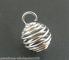 Wholesale Lots Silver Tone Spring Bead Cages Pendants 8x9mm
