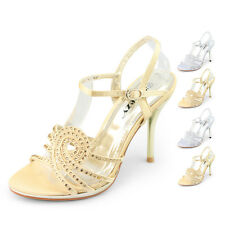 ladies silver gold high heels evening sandals diamantes ankle straps party shoes