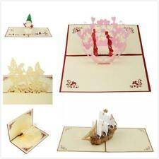 3D Pop Up Vintage Love Xmas Greeting Card for Birthday Easter Anniversary Thanks
