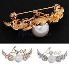 Fashion Love Angell Wing Pearls Design Brooch Pins Costume Jewelry
