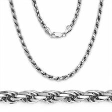 CHAIN NECKLACE FOR MEN Solid Rope 925 Sterling Silver