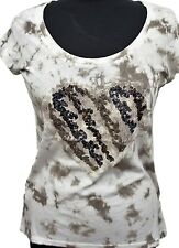 Via Milano Tie Dye Carmel Latte Womens Embellished T-Shirt Petite Size Top