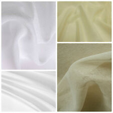 100% Cotton Muslin Voile Sheer Curtain Craft Fabric Material 150 cms Cream White