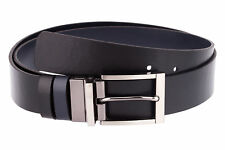 Capo Pelle Reversible Belt for Men Mens belts buckles Blue Italian leather strap
