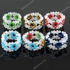 Crystal Glass Faceted Flower Rondelle Bead Bracelet Bangle Women Jewelry Fashion