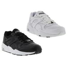 Puma R698 Leather Mens Shoes White Black Running Trainers Size UK 8-11
