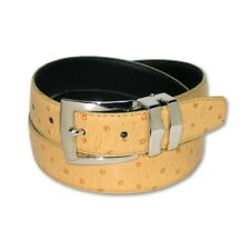 OSTRICH Pattern CAMEL YELLOW Bonded Leather Men's Belt Silver-Tone Buckle