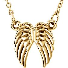 """Tiny Posh™ Petite ANGEL WINGS Necklace 14kt Rose, Yellow or White Gold 18"""" Chain"""