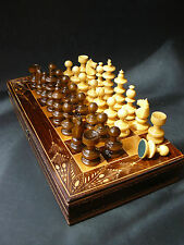 """Large 15""""/38cm Wooden Chess Backgammon Draughts Game SET Hand Carved Decorations"""