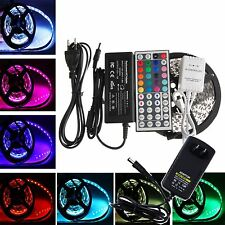 5M 3528 5050 RGB 300 SMD Flexible LED Strip Light 24key IR Remote+Power Supply
