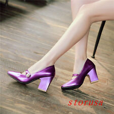 Women Girl Patent Leather Princess Pump Shoes Casual Dating Dress Shoes Size New