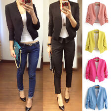 New Women Ladies Fashion Slim Fit Jacket Candy Color 3/4 Sleeve Blazer Coat Tops