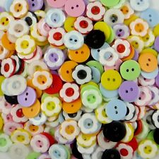 100pcs Mixed Colors Plastic Flower Round Button Lots Scrapbook Sewing Craft Card