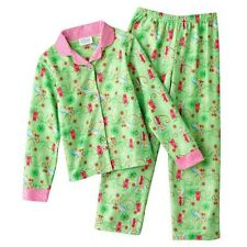 Disney Tinker Bell Tinkerbell Girls Green Winter Flannel Pajama Set 2 Pc NEW