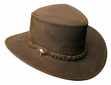Nullabor Leather hat with woven Hatband from Kakadu Australia, seconds