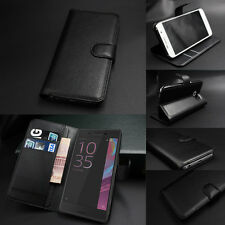 Luxury PU Leather Flip Wallet Card Slot Case Cover For Sony Xperia Phones