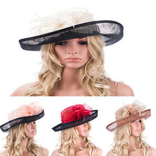 Womens Sinamay Fascinator Floral Feather Kentucky Derby Wide Brim Hat T122
