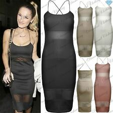 Womens Ladies Celebrity Inspired Mesh Panel Strings Midi Pencil Bodycon Dress
