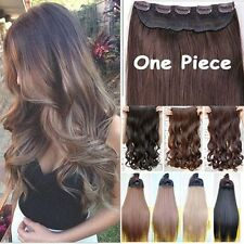 US Premium One Piece Real Thick Straight Curly Hair Extensions 5 Clips In On NFS