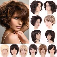 Full Women Ladies Fashion Short Hair Wig Dark Brown Auburn Curly Straight Wigs #