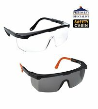 Classic Safety Glasses Eye Protection Clear Smoke ANSI Z87, Portwest PW33