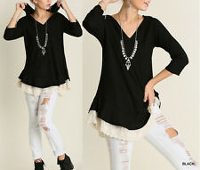 Umgee Plus Size Boho Tunic Top Hooded Lace Trim Extender Black CUTE   XL-1X-2X