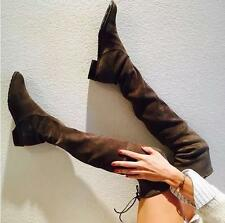 Fashion  Lady Women Over Thigh Knee High Boot Lace Up Slouch Pull on Shoes Size