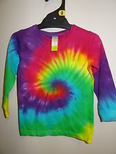 GIRLS RAINBOW LONG SLEEVE TIE DYE / DYED HIPPY AWESOME FUNKY TEE SHIRT SIZE 2