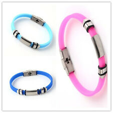 2pcs Hot Sale Silicone Bracelets Bangle Smooth Connector Wristband Iron Buckle L