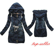 #Women Girls Winter Denim Trench Coat Hoodie Hooded Outerwear Coat Jacket Jean
