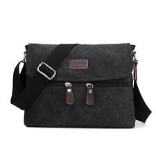 New Casual Style Men Shoulder Messenger Bag Solid Canvas Zipper Hanbags For Male