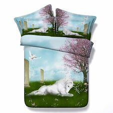 3D Bedding Queen Quilt Doona Duvet Cover Bed Sheet Pillowcase Set -Horse Garden-