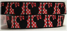 """Red White Polka Dots Squares Mouse Ears Inspired Movie Grosgrain Ribbon 7/8"""""""