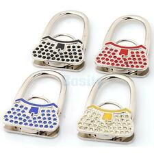 Foldable Lock Latch Design Purse Rhinestone Hanger Handbag Hook Gift 4 Color