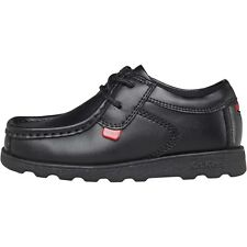 Kickers Boys School Shoes, Kickers Junior Fragma Lace Up School Shoes - Black