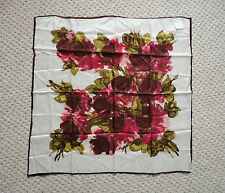 LADIES VINTAGE 1960s / 70s ST. DAVIDS WHITE, PINK & GREEN FLORAL SCARF / SHAWL