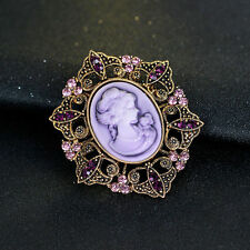 Hexagon Vintage Purple Rhinestone Flower Round Women Beauty Head Cameo Brooches
