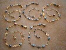 EVIL EYE GOLD SILVER TONE LEAF ANKLET BRACELET BEADS GREEK NAZAR JEWELRY HAMSA