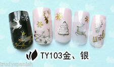 Christmas 3D Nail Art Stickers Decals Metallic Gold Silver Snowflakes Reindeer