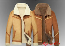 Men New faux leather fashion winter wool lamb fur liner coat jacket Overcoat Hot