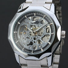 Casual Date Analog Mechanical Automatic Wrist Stainless Steel Mens Watch