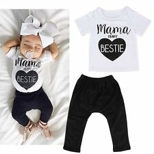 2PCS Toddler Infant Kids Baby Boys Girls Outfits Clothes T-shirt+Long Pants Sets